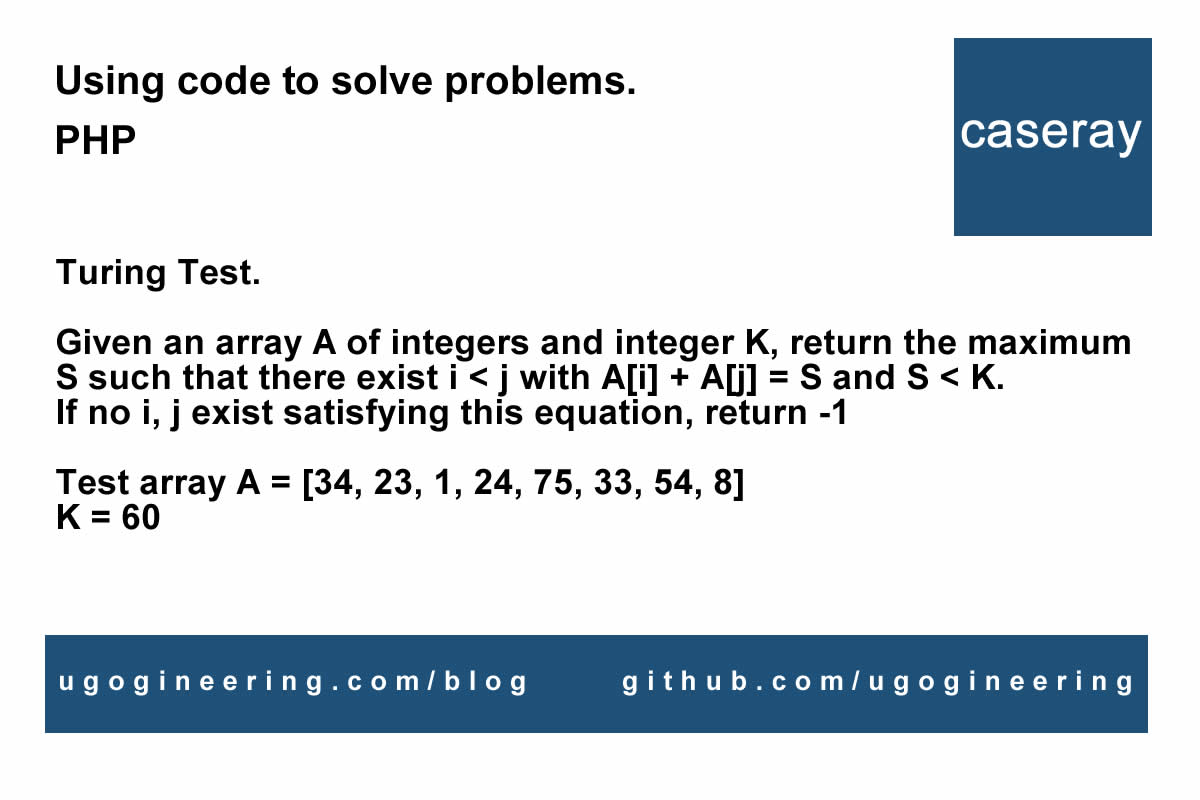 Sums of two integers in an array less than K